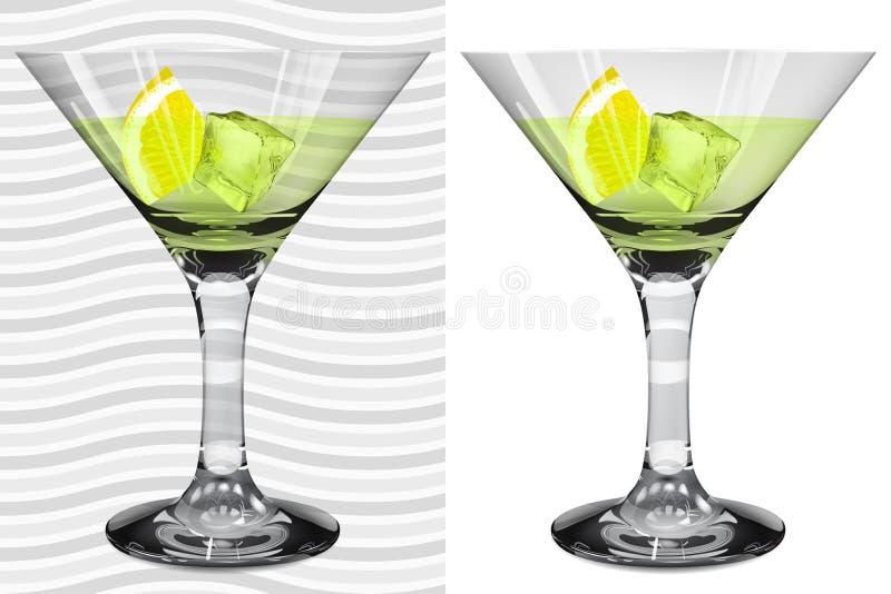 Vetri realistici trasparenti ed opachi di martini con martini, l illustrazione vettoriale