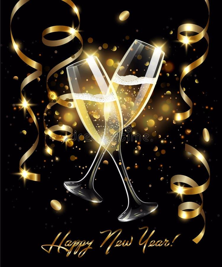 Vetri scintillanti di champagne con la serpentina dell'oro su fondo nero, effetto del bokeh con il buon anno del segno royalty illustrazione gratis
