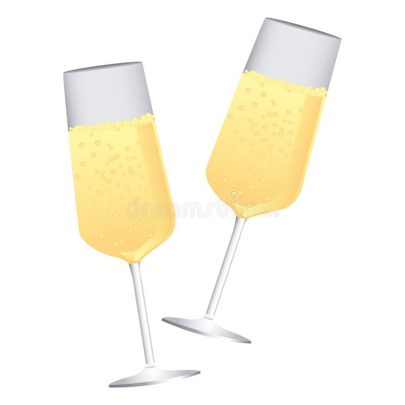 vetri variopinti del champagne del pane tostato delle coppie della siluetta illustrazione vettoriale