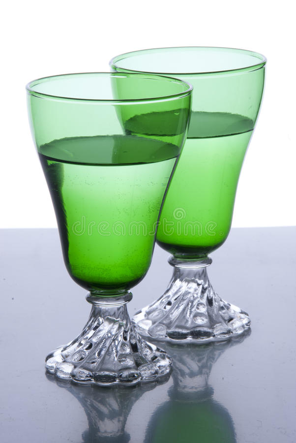 2 vetri verdi immagine stock libera da diritti