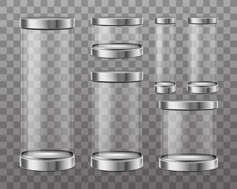 Vetrina della capsula di vetro trasparente illustrazione vettoriale