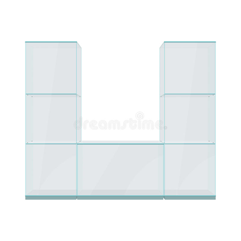 Vetrina di vetro con gli scaffali, isolati su un fondo bianco immagini stock
