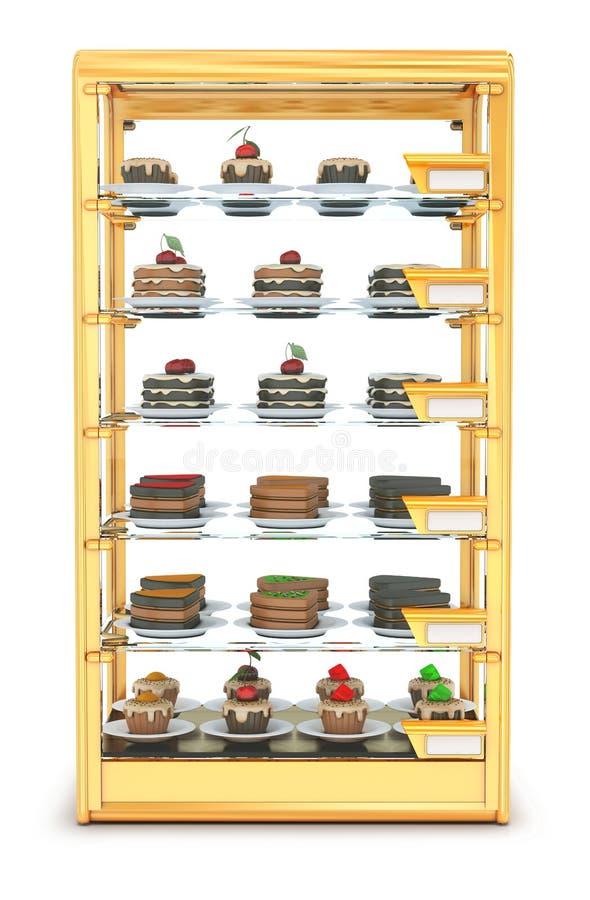 Vetrina di vetro per cuocere, i bigné di riempimento ed i dolci royalty illustrazione gratis