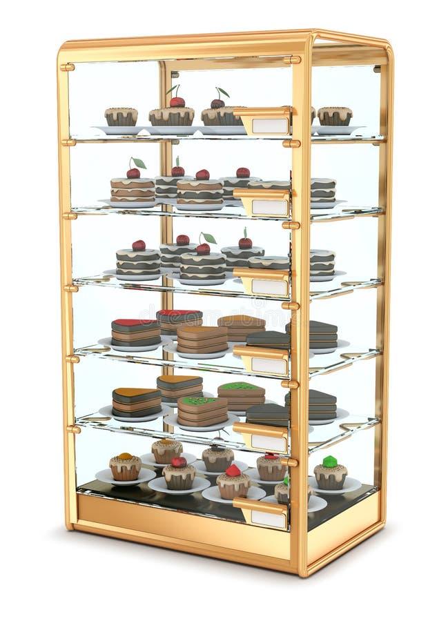 Vetrina di vetro per cuocere, i bigné di riempimento ed i dolci illustrazione vettoriale