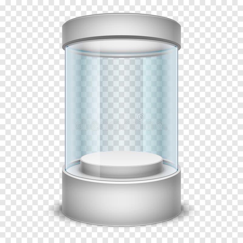 Vetrina di vetro vuota del cilindro del negozio, scatola di presentazione sull'illustrazione trasparente di vettore del fondo royalty illustrazione gratis
