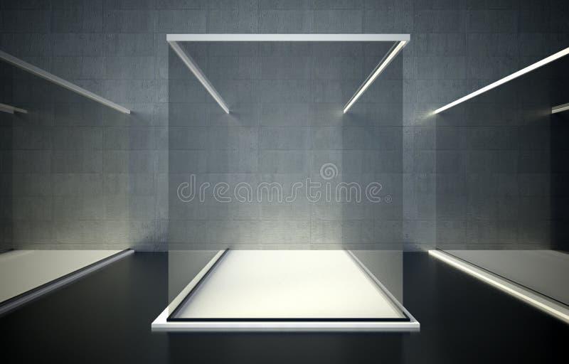 Vetrina di vetro vuota, spazio di mostra 3d royalty illustrazione gratis