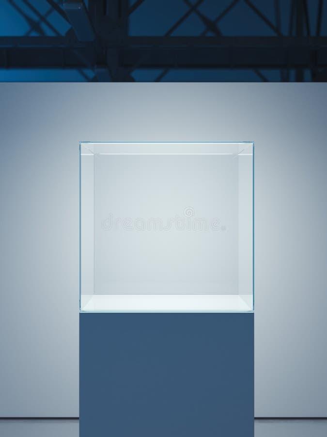 Vetrina luminosa nell'interno moderno del sottotetto rappresentazione 3d fotografie stock