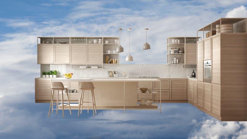 Vetrina moderna della cucina, mobilia nello spazio all'aperto, blu timido con le nuvole, interior design nel concorso esteriore illustrazione vettoriale
