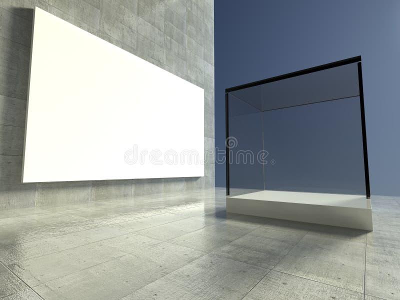 Vetrina vuota, spazio di mostra 3d illustrazione vettoriale