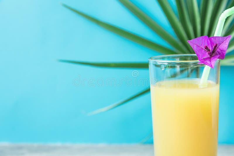 Vetro alto con la noce di cocco arancio di recente urgente Juice Straw dell'ananas ed il piccolo fiore Foglia rotonda della palma immagini stock