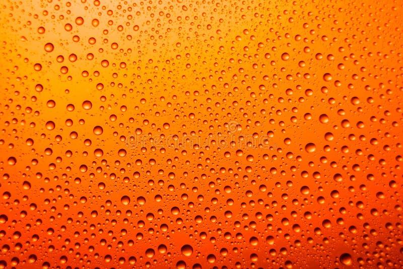 vetro appannato della fine della birra su un fondo luminoso arancio fotografia stock libera da diritti
