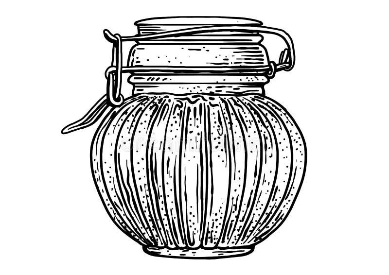 Vetro, barattolo, illustrazione del miele, disegno, incisione, inchiostro, linea arte, vettore royalty illustrazione gratis