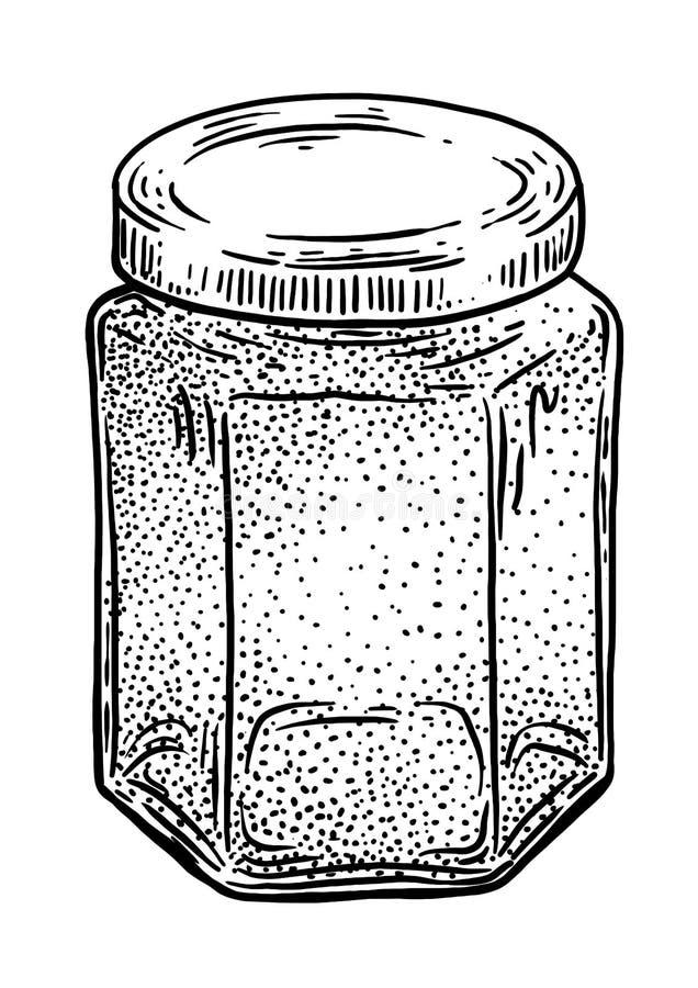 Vetro, barattolo, illustrazione del miele, disegno, incisione, inchiostro, linea arte, vettore illustrazione di stock