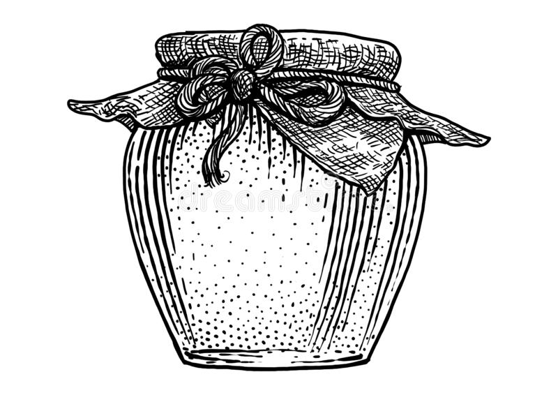 Vetro, barattolo, illustrazione del miele, disegno, incisione, inchiostro, linea arte, vettore illustrazione vettoriale