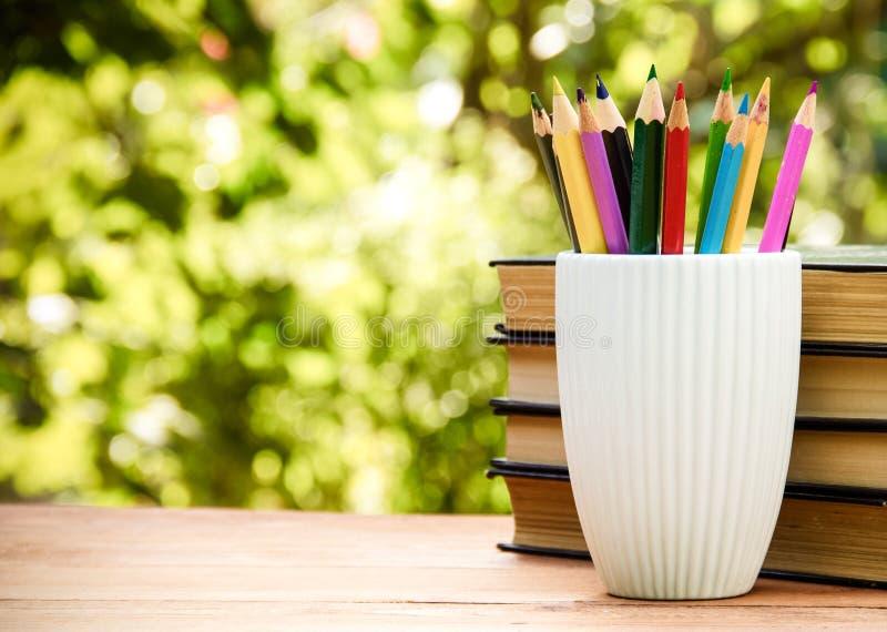 Vetro bianco con le matite su sfondo naturale verde Cancelleria e pila di libri immagini stock libere da diritti