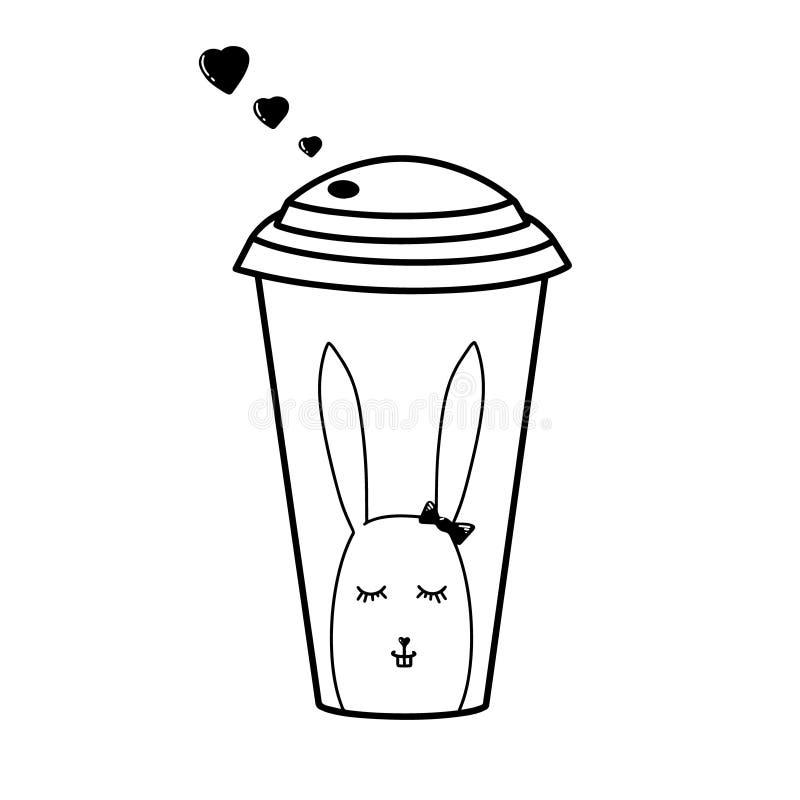 Vetro caldo di carta nero del tè del caffè su fondo bianco Piccolo coniglietto nero dell'arco del cuore di vettore Tazza disegnat illustrazione di stock