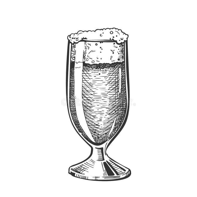 Vetro classico disegnato a mano con il vettore della birra della schiuma illustrazione vettoriale