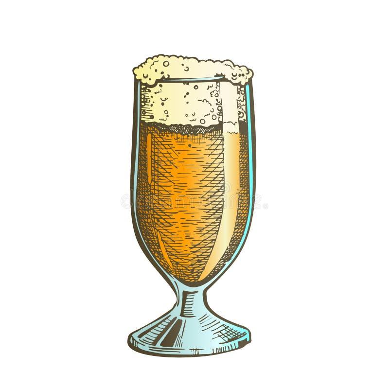 Vetro classico tirato di colore con il vettore della birra della schiuma illustrazione di stock