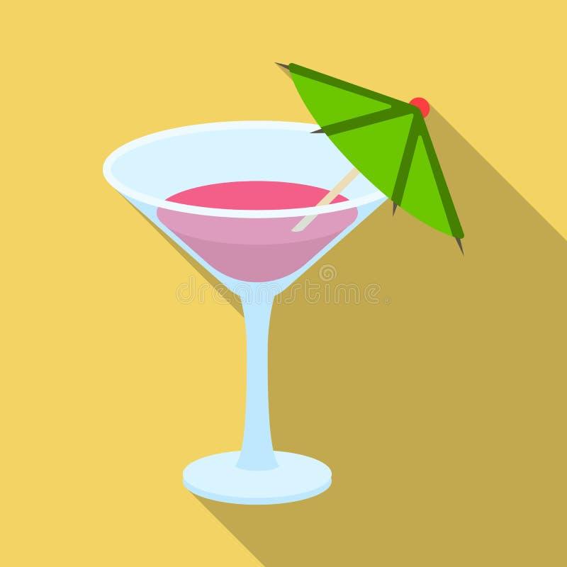Vetro con un cocktail Faccia festa e singola icona dei partiti nell'illustrazione piana delle azione di simbolo di vettore di sti illustrazione vettoriale