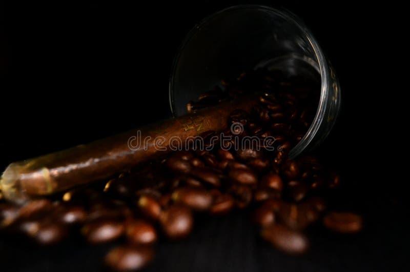 Vetro con un sigaro cubano ed i chicchi di caffè sul nero fotografia stock