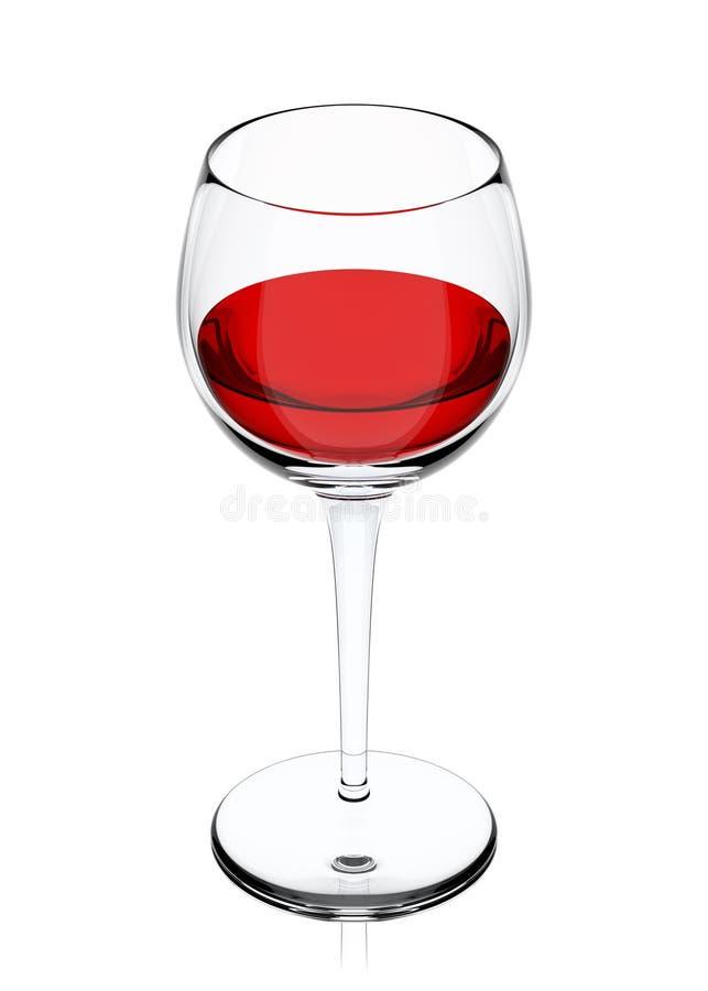 Vetro con vino isolato su bianco, illustrazione 3d illustrazione di stock