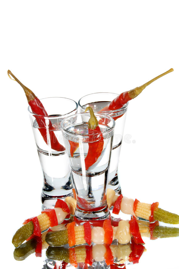 Vetro con vodka fotografie stock