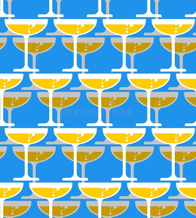 Vetro del modello senza cuciture del champagne Alcool nel fondo di vetro royalty illustrazione gratis
