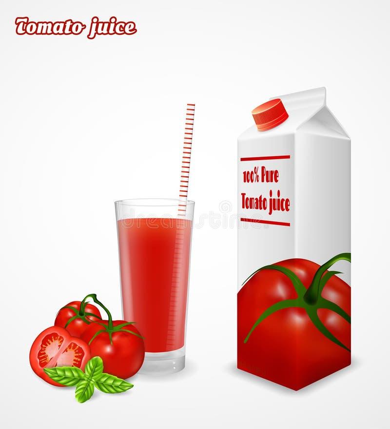 Vetro del pacchetto fresco del succo e della carta di pomodoro isolato su fondo bianco illustrazione di stock
