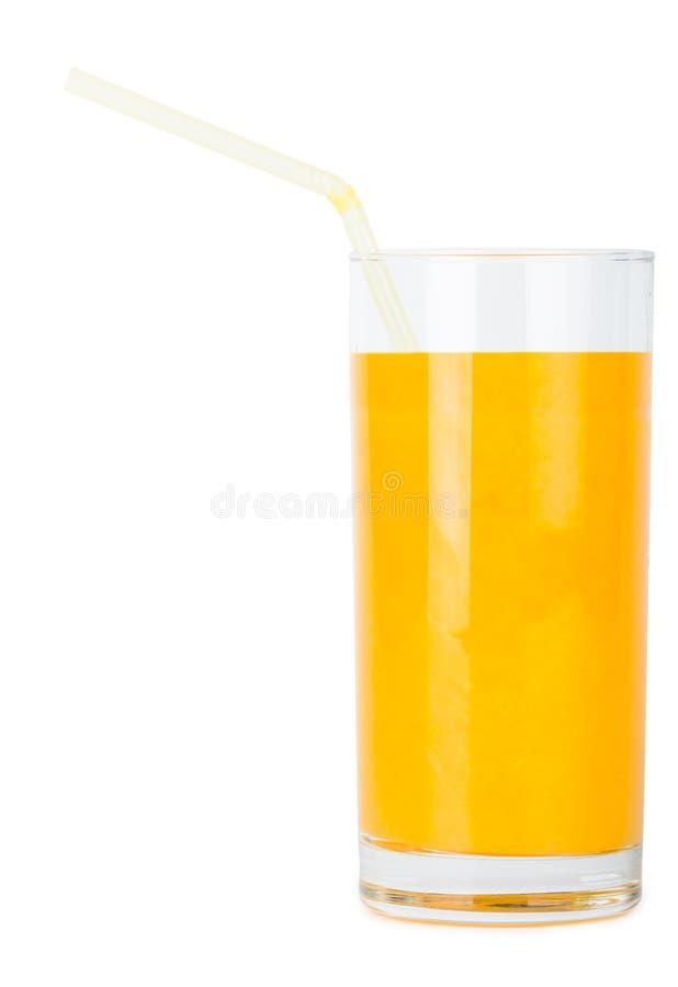 Vetro del succo d'arancia con paglia fotografia stock