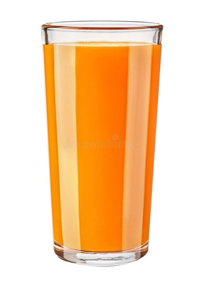 Vetro del succo di carota fresco isolato su fondo bianco immagini stock libere da diritti