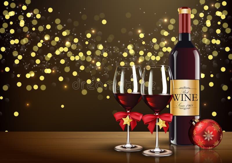 Vetro del vino rosso con la palla della bottiglia e di natale di vino sul fondo leggero del bokeh royalty illustrazione gratis