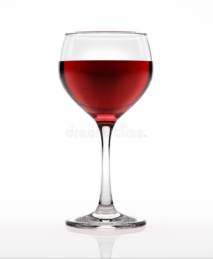 Vetro del vino rosso, sulla superficie di bianco e sul fondo, osservati da un lato. fotografia stock libera da diritti
