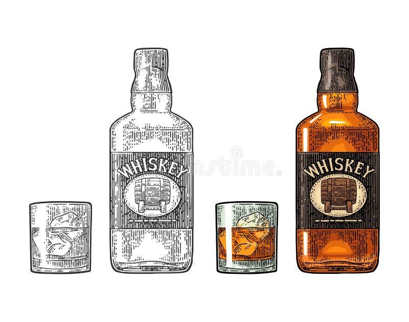 Vetro del whiskey con i cubetti di ghiaccio ed etichetta della bottiglia con il barilotto illustrazione di stock