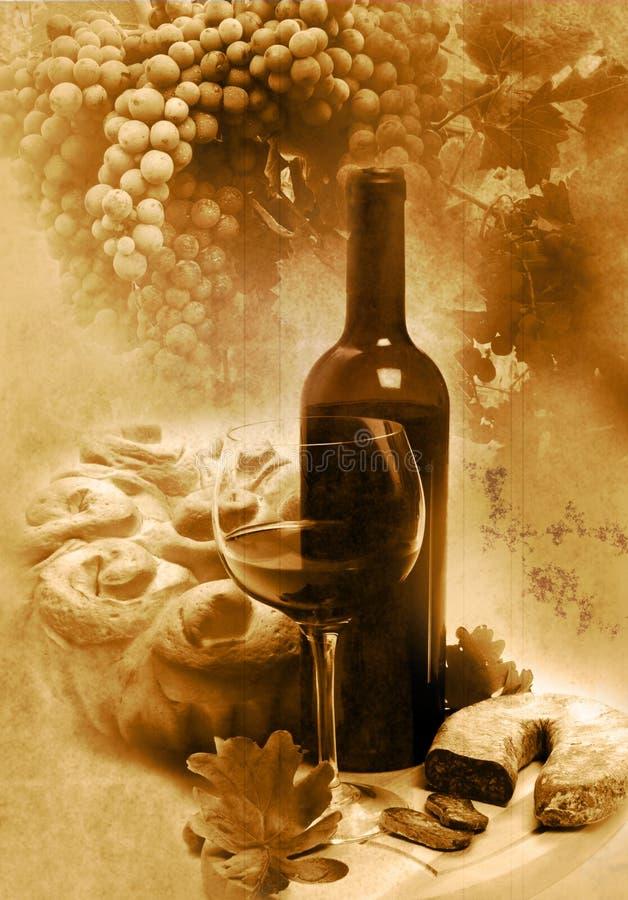 Vetro dell'annata e vino della bottiglia fotografie stock libere da diritti