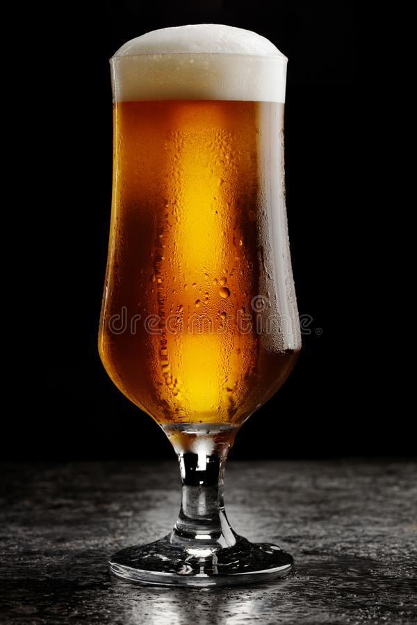 Vetro della birra leggera del mestiere freddo su fondo scuro fotografia stock