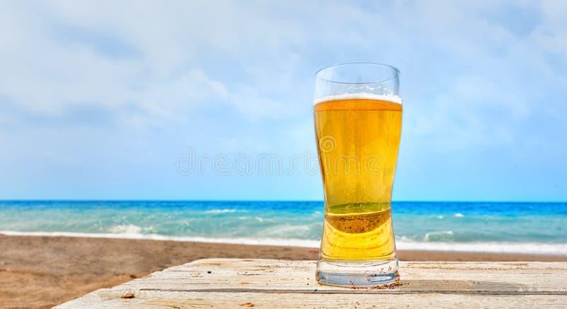 Vetro della lager dorata pallida di Pilsener al mare fotografia stock