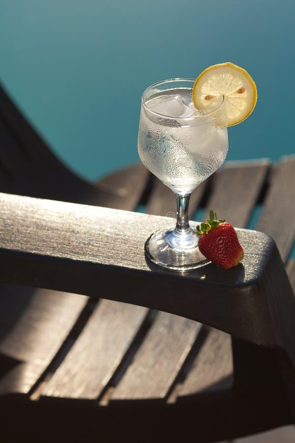 Vetro della piscina, del salotto e di vino con ghiaccio immagine stock