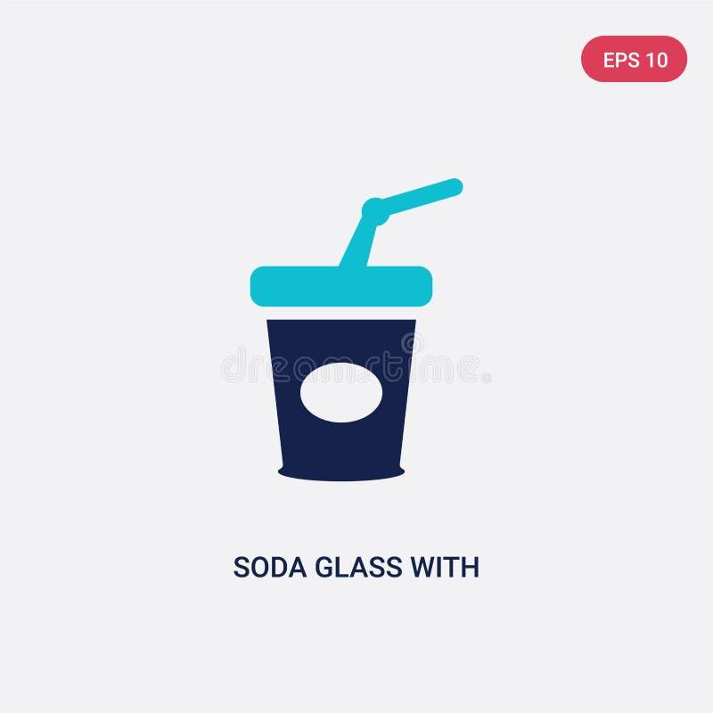 Vetro della soda di due colori con un'icona di vettore della paglia dal concetto di football americano vetro blu isolato della so royalty illustrazione gratis