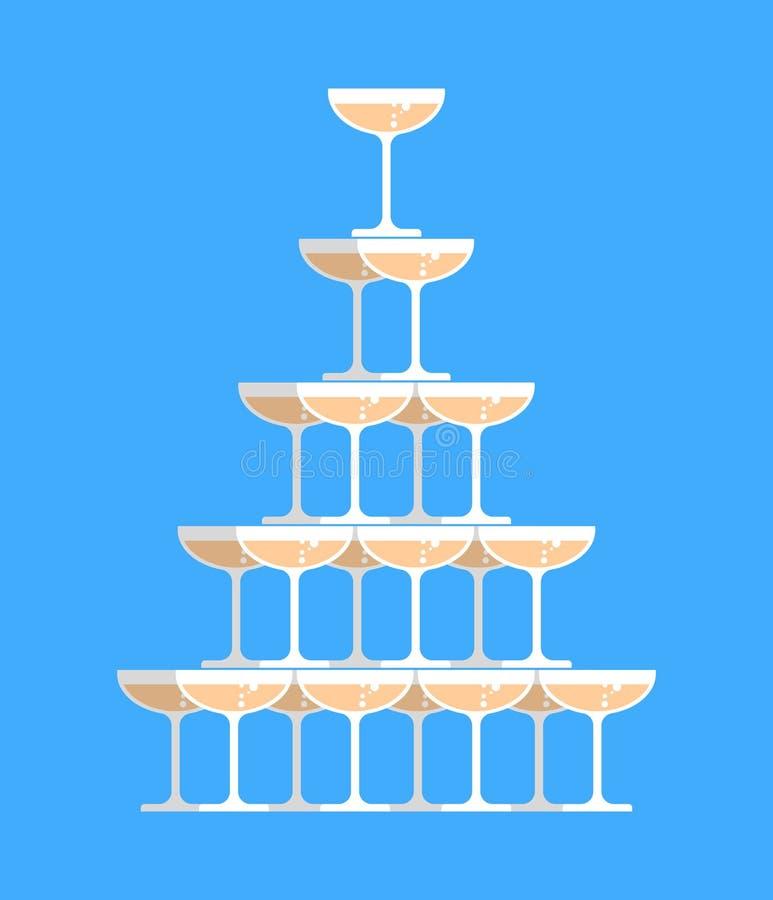 Vetro della torre del champagne Alcool in campanile di vetro Piramide del vino illustrazione vettoriale