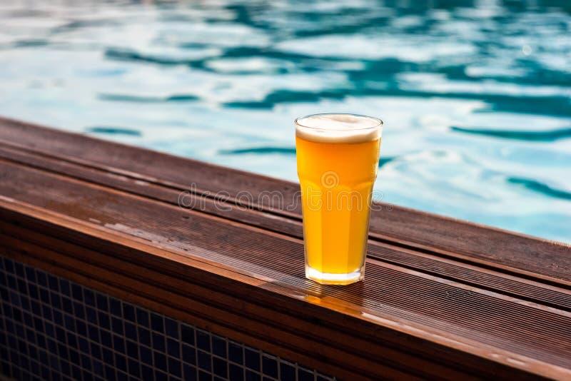 Vetro di birra al barside dello stagno fotografia stock