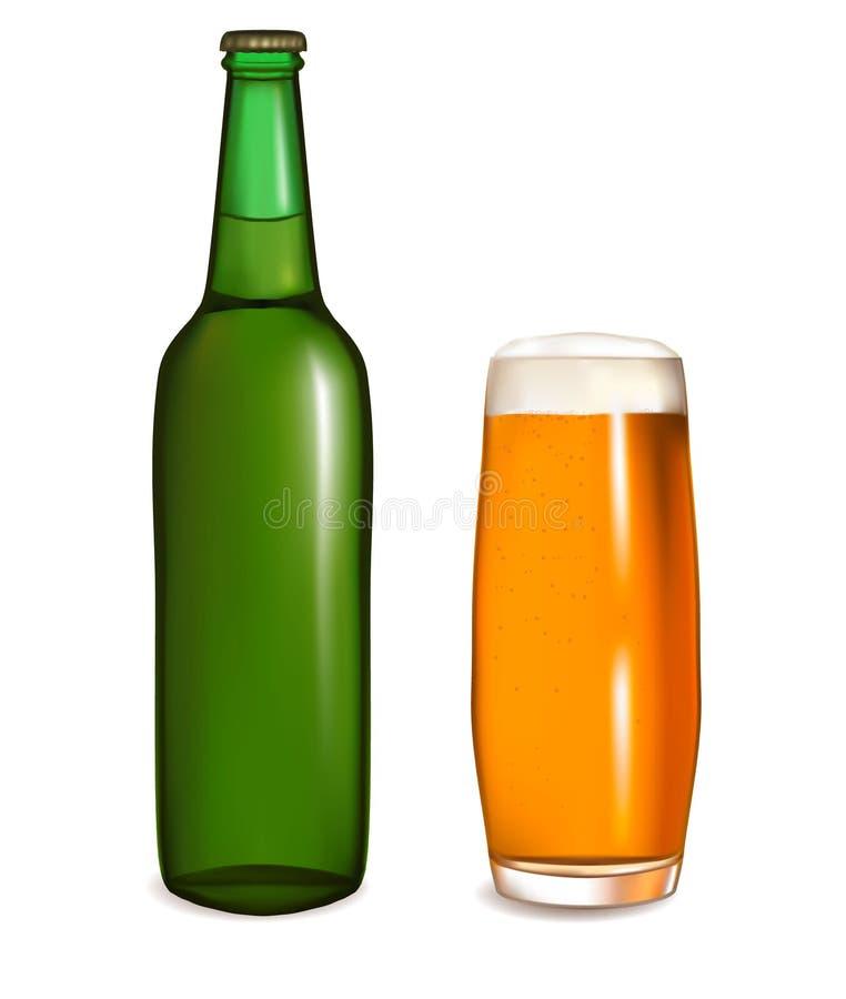 Vetro di birra chiara con la bottiglia. Vettore illustrazione di stock