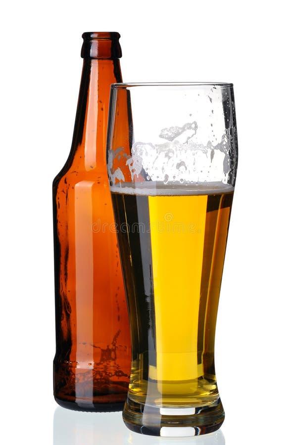 Vetro di birra e della bottiglia immagini stock