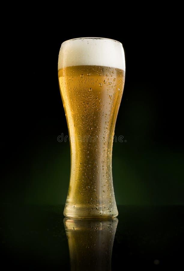 Vetro di birra glassato in pieno fotografia stock