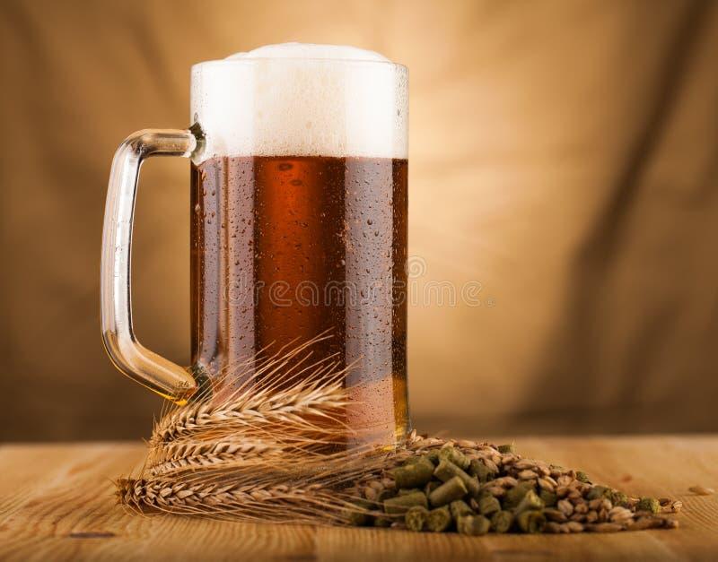 Vetro di birra leggera sulla tavola fotografia stock libera da diritti