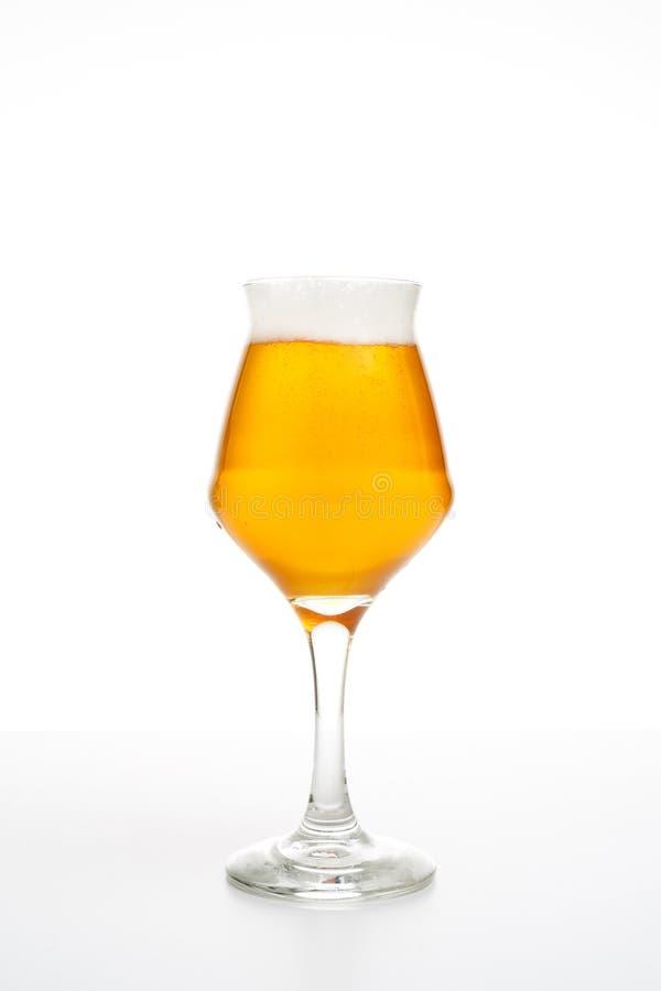 Vetro di birra pieno di birra chiara di pils su fondo bianco fotografie stock