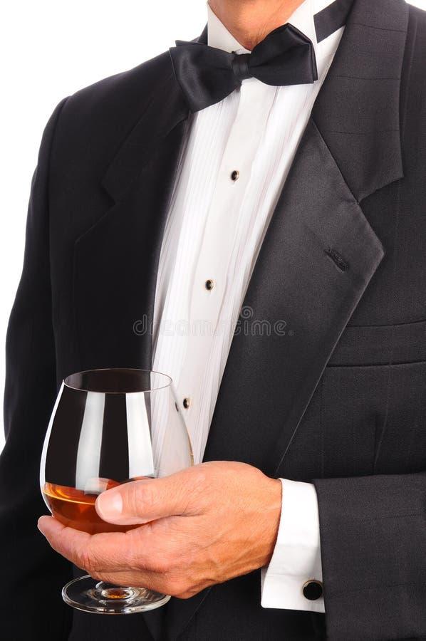 Vetro di brandy con il sigaro fotografie stock libere da diritti