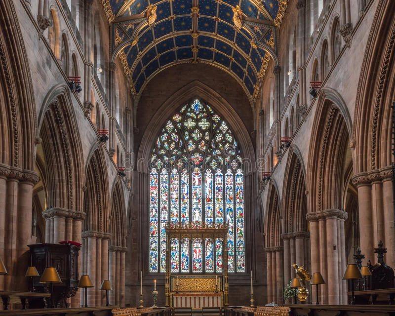 Vetro di Carlisle Cathedral Nave Altar Stained immagine stock