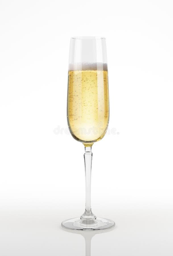 Vetro di Champagne sulla superficie e sul fondo di bianco. fotografie stock