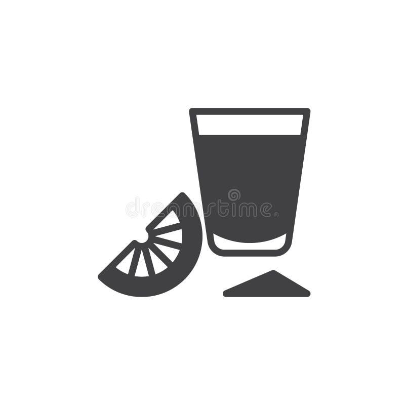 Vetro di colpo di tequila con il vettore dell'icona della fetta della calce, segno piano riempito, pittogramma solido isolato su  illustrazione di stock