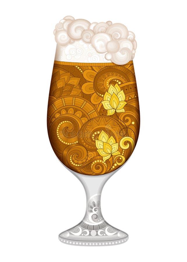 Vetro di contorno di vettore di birra con il modello decorativo di scarabocchio illustrazione di stock